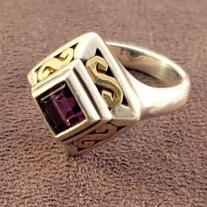 Rare James Avery Amethyst 18k Gold & Sterling Ring